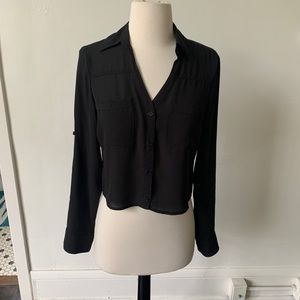 Express Black Cropped Portofino Shirt